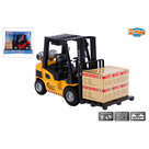 2-Play-Traffic-Diecast-Pull-Back-Heftruck-met-Pallet+Doos-en-Licht+Geluid-Assorti